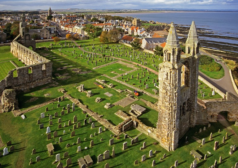 St Andrews Cathedral burial ground and town from the top of St Rules Tower