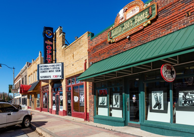 Stores and bars on Exchange Avenue in the historic Stockyard district, Oklahoma City, OK, USA