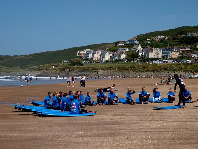Surf school, Woolacombe, Devon, UK