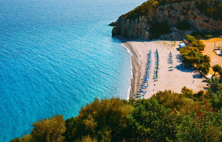 Beautiful Tsabou beach on samos, Greece