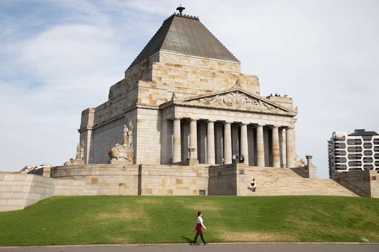 Shrine of Remembrance with public walking at entrance, Melbourne, Australia