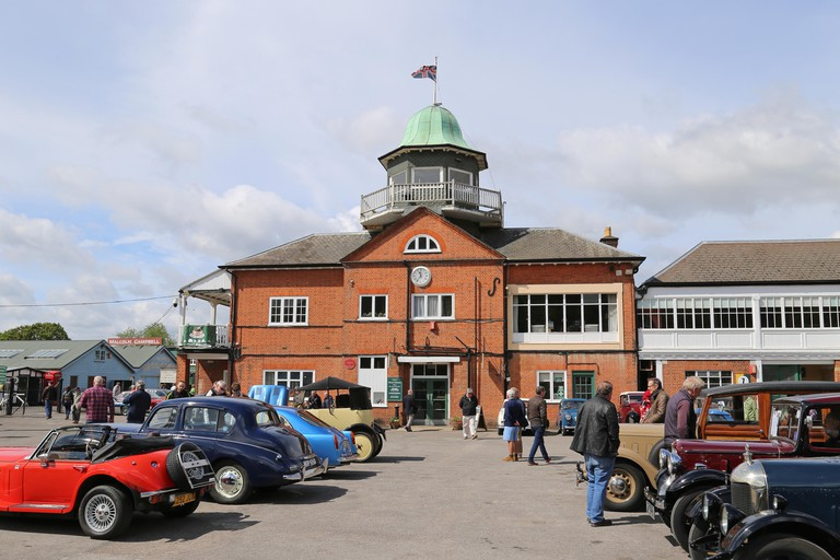Clubhouse and Paddock, British Marques Day, 28 April 2019, Brooklands Museum, Weybridge, Surrey, England, Great Britain, UK, Europe