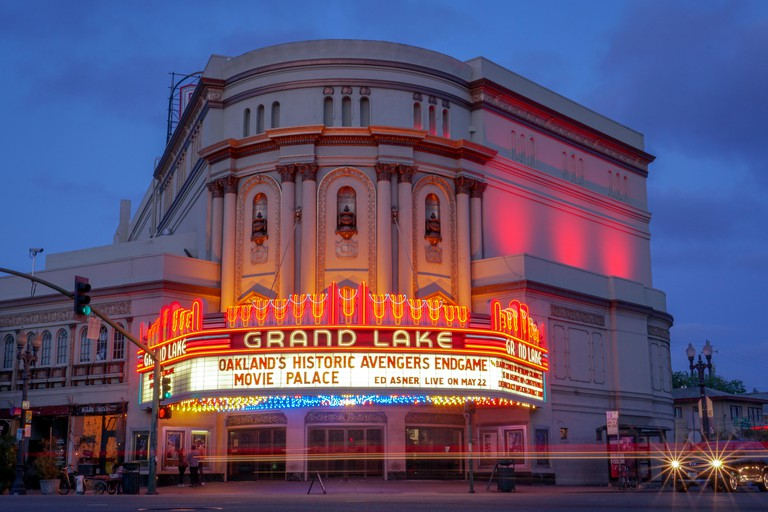 OAKLAND, CALIFORNIA -- May 4, 2019: The Grand Lake Theatre is a historic movie palace located at 3200 Grand Avenue and Lake Park Avenue in the Grand L