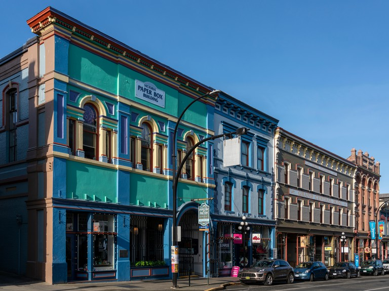 Heritage buildings on lower Johnson Street in Victoria, British Columbia, Canada.
