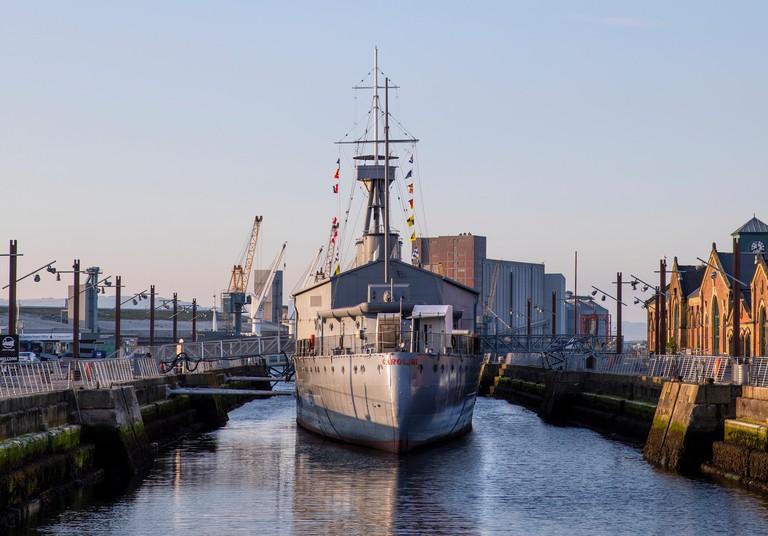 The WW1 ship HMS Caroline, Alexandra Dock, Belfast, Titanic Quarter
