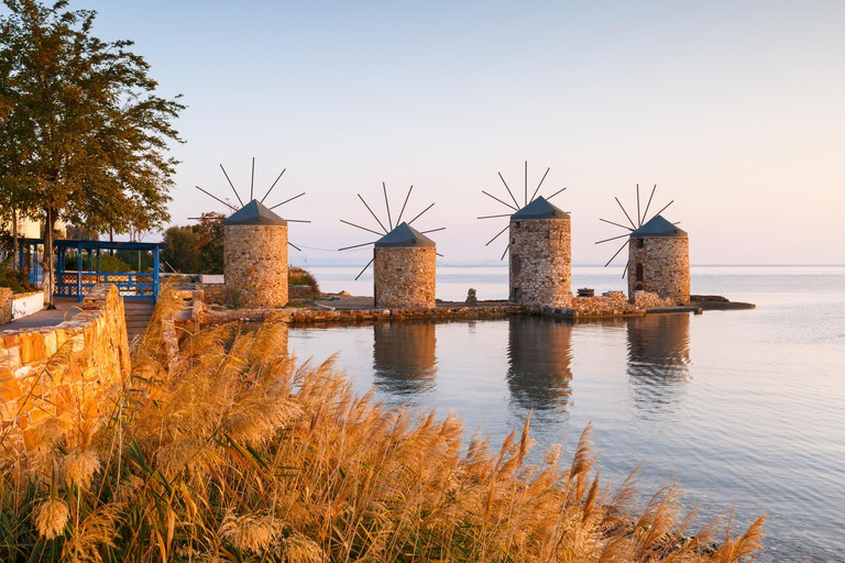 Sunrise image of the iconic windmills in Chios town..