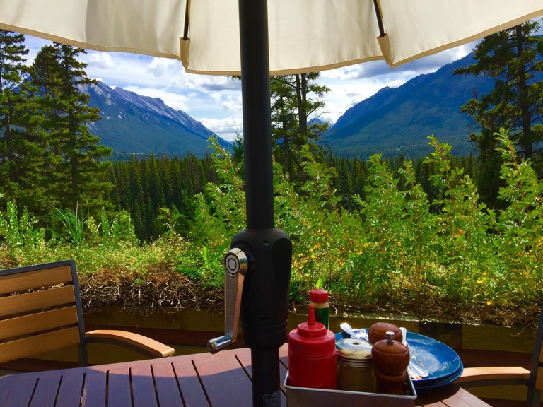Banff National Park,  Canadian Rockies, from the Juniper Hotel patio, Banff, Alberta, Canada