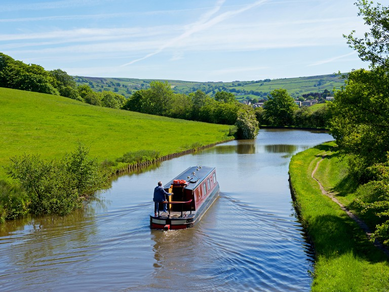 The Leeds and Liverpool Canal near Farnhill, North Yorkshire, England UK