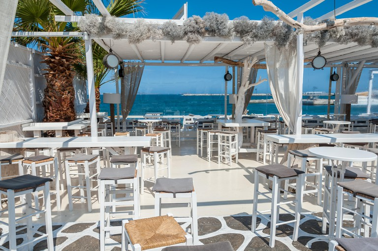 Restaurant on the beach in Naxos, Greece