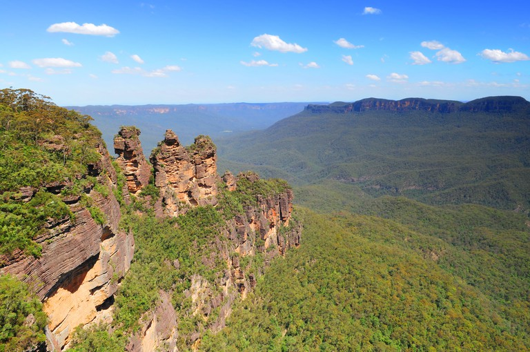 Three sisters rock formation in Blue Mountains near Sydney in Australia