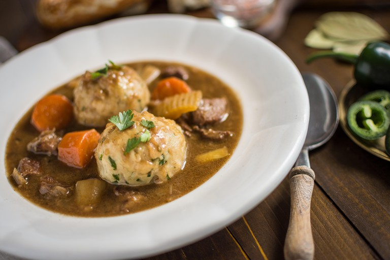 Venison Stew with Bacon and Onion Dumplings