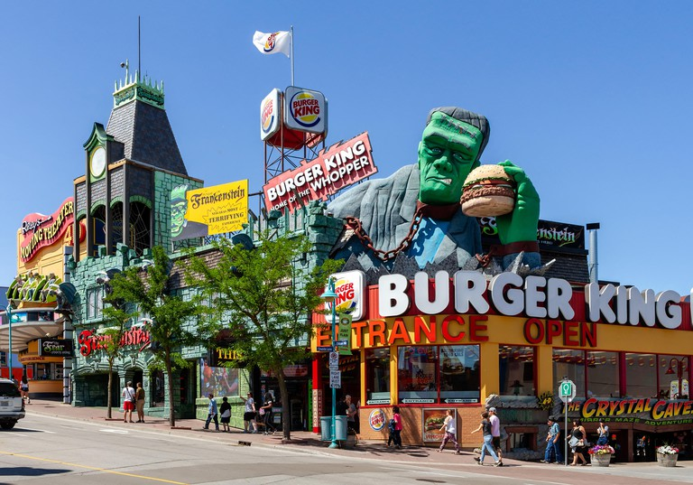 "Niagara Falls, Canada - June 15, 2018: View of Clifton Hill, known as the "" Street of Fun"", one of the major tourist promenades in Niagara Falls."
