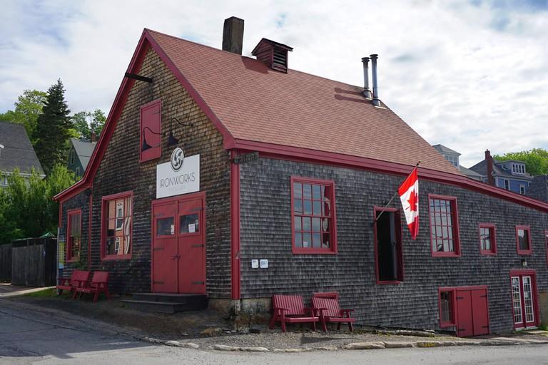 Ironworks Distillery in Lunenburg Nova Scotia, Canada - corner view