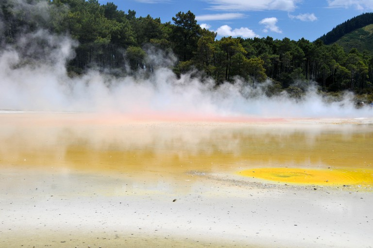 Waiotapu colorful thermal lake, Waiotapu Thermal Wonderland, Rotorua, North Island, New Zealand