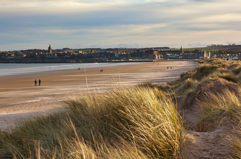 St Andrews as seen from the West Sands at Sunset. Image shot 11/2010. Exact date unknown.
