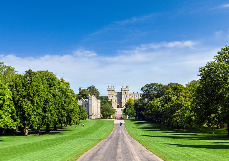 Windsor Castle from the Long Walk, Windsor Great Park, Berkshire, England, UK
