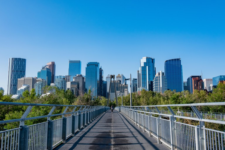 Morning view of the skyline and Bow River Pathway at Calgary, Canada
