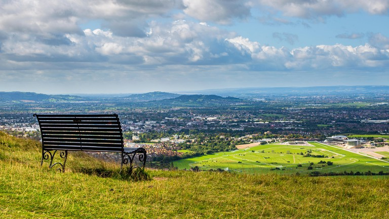 A view of Cheltenham Racecourse and Spa from Cleeve Hill, England