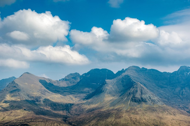The Cuillin mountains over Glen Brittle, from the summit of An Cruachan, Minginish, Isle of Skye, Scotland, UK