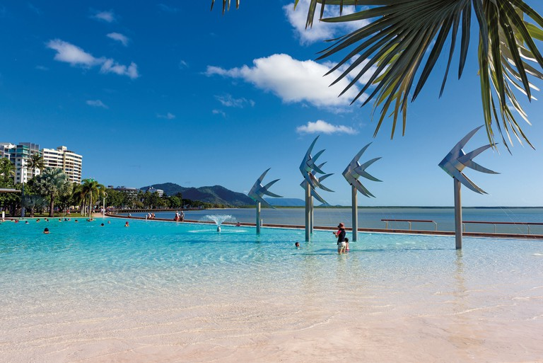 Cairns Lagoon on the city's Esplanade. The waterfront is one of the most popular locations in Cairns