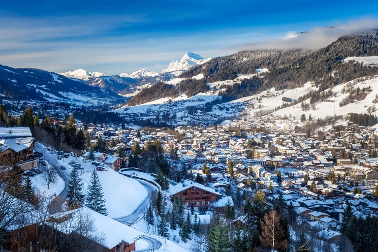 Panoramic view of Megeve village in Winter. Alpine landscape Winter wonderland in Megeve. Walk to the Nordic ski resort La Livraz and around.