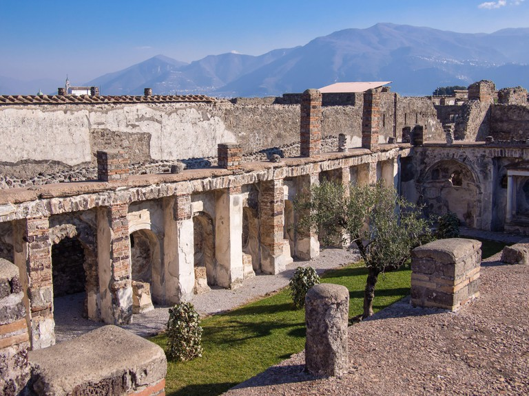 The ruins of the ancient city of Pompeii in Pompei, Italy. This ancient city was preserved under volcanic ash in the eruption of Mount Vesuvius.