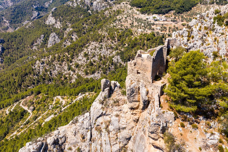 Spain, Balearic Islands, Alaro, Aerial view of ruin ofCastelldAlaro