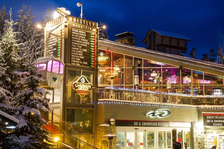 Whistler, BC, Canada: Garibaldi Lift Co exterior at dusk ? Stock Photo