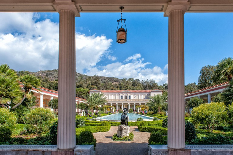 The Getty Villa on a sunny October day in Malibu, Los Angeles.