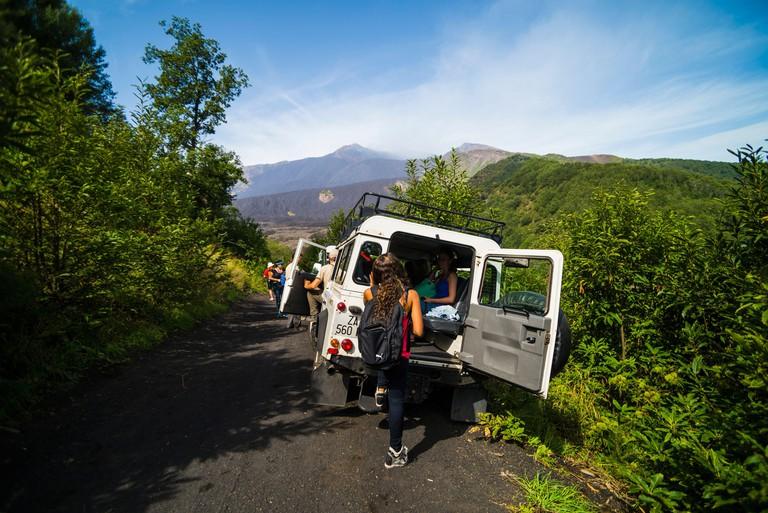Mount Etna Volcano Tour, tourists visiting Mount Etna, Sicily, UNESCO World Heritage Site, Italy, Europe