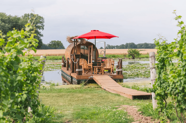 8. Airbnb Wine Barrel Floating Cabin w:Panoramic Window