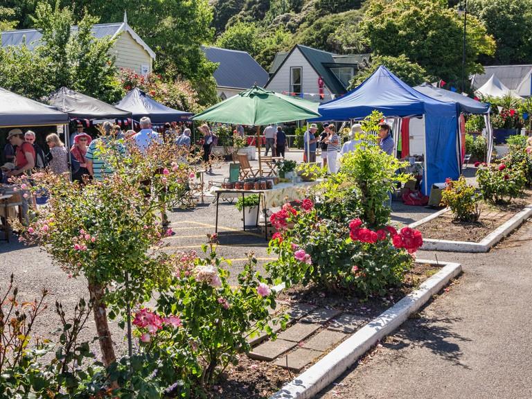 Farmers Market in Akaroa, Canterbury, New Zealand.