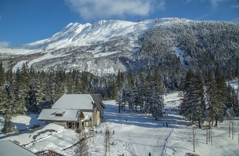 View from the The Alyeska Resort Hotel overlooking the ski runs and cable car in Girdwood, in the Chugach mountains, Alaska, USA