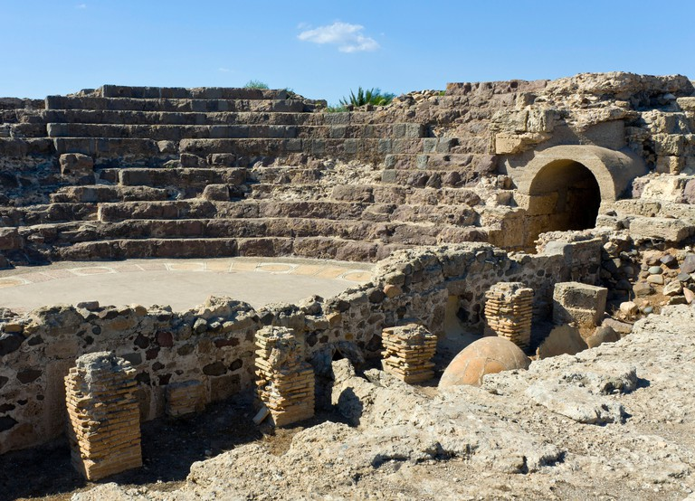 Amphitheater of the ancient Nora archaeological site, near Pula, Sardinia, southern Italy, southern Europe, Europe