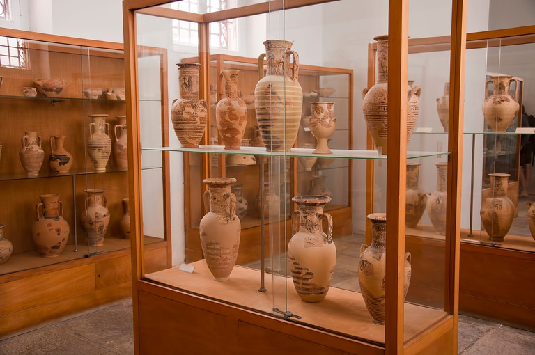 The  Archaeological Museum on the beautiful Island of Mykonos in the Cyclades Islands Greece