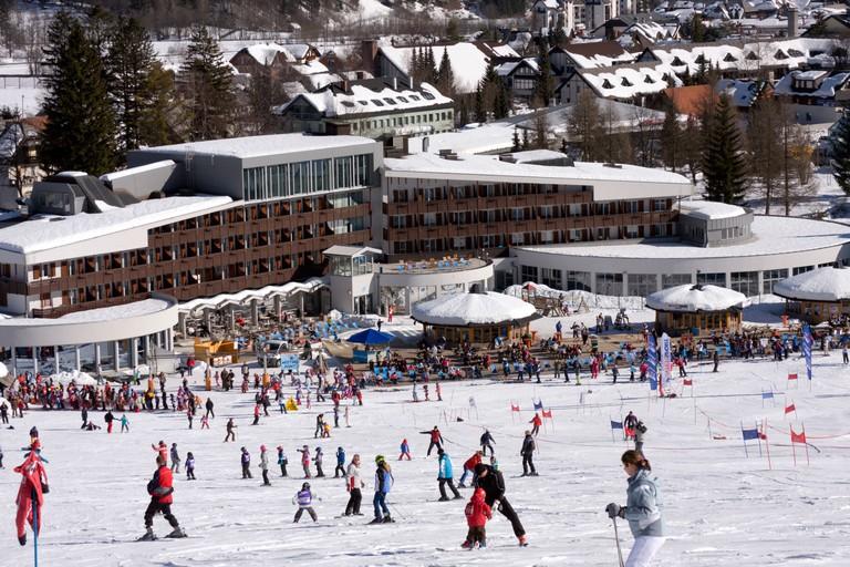 Ski resort in Kranjska Gora, Slovenia.