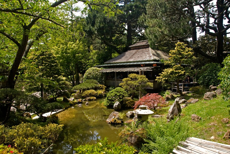Tea House in the Japanese Tea Garden, Golden Gate Park, San Francisco, California, United States.