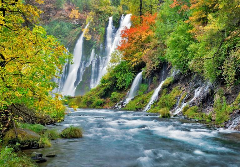 Burney Falls with fall color McArthur Burney Falls Memorial State Park California