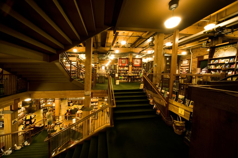 Interior of the historic Tattered Cover Bookstore in the restored Morey Mercantile Building in Denver's LoDo: lower downtown.
