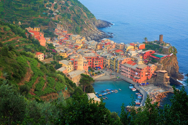 Late afternoon in Vernazza, a small town in Italy's Cinque Terre National Park.