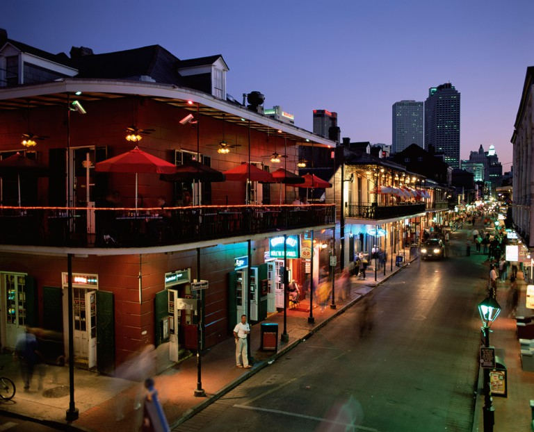 City skyline and Bourbon Street, New Orleans, Louisiana, United States of America, North America