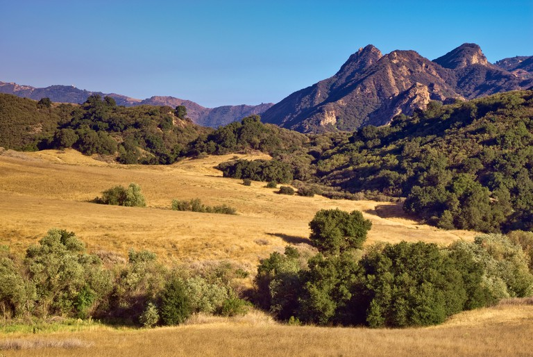 Malibu Creek State Park, view from Mulholland Highway in Santa Monica Mountains near Malibu, California, USA