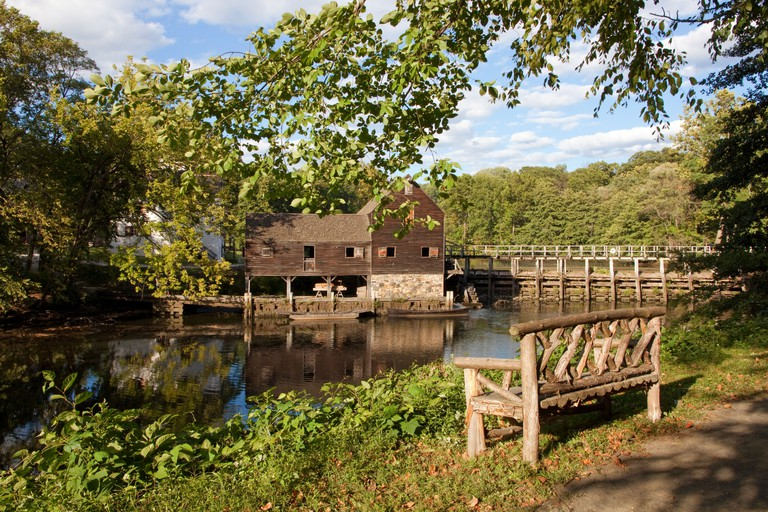 Philipsburg Manor historical Old Grist Mill is part of Sleepy Hollow in Tarrytown, New York.