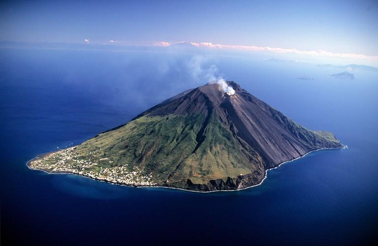 Italy, Sicily, Aeolian Islands, Stromboli Island (aerial view)