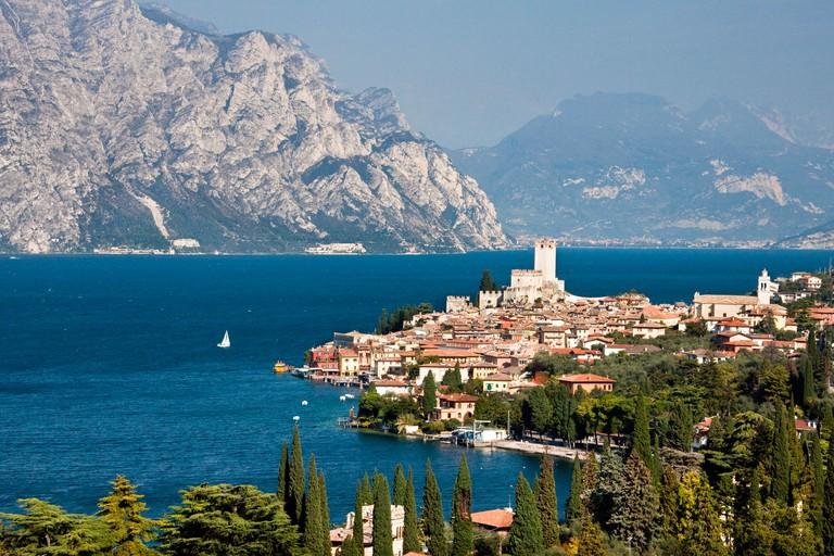 Italy, Europe, lake Garda, lake, Malcesine, mountains, Old Town, castle