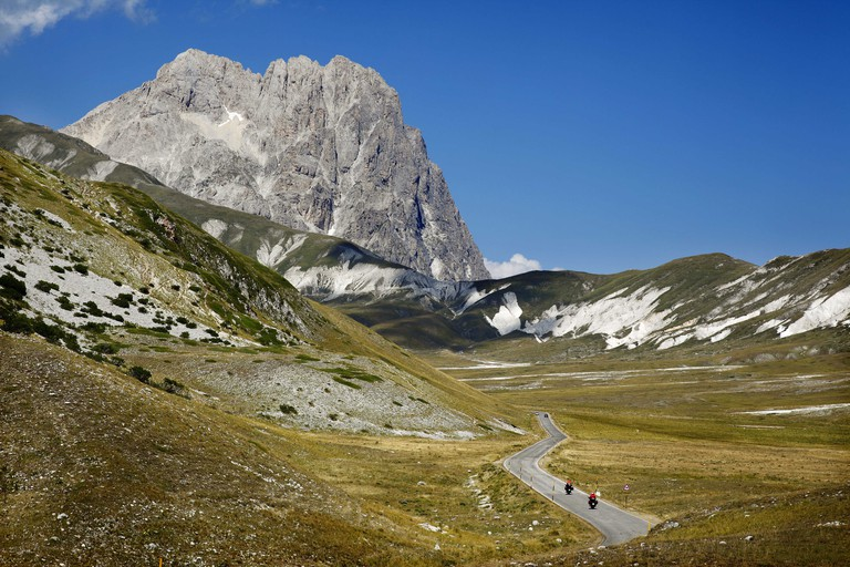 Campo Imperatore in the Gran Sasso, Abruzzo, Italy. In the background is Corno Grande, tallest mountain in the apennines.