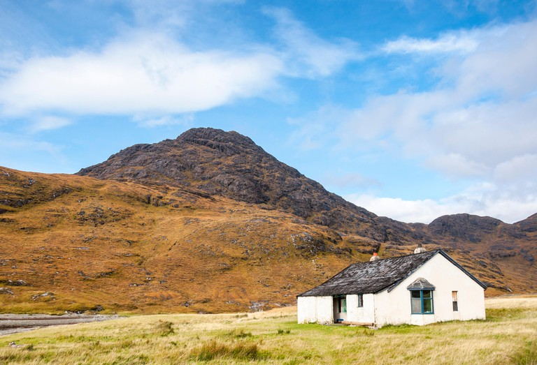 Camasunary, a remote location near Elgol on the Isle of Skye. Autumn colours in the moorland landscape.