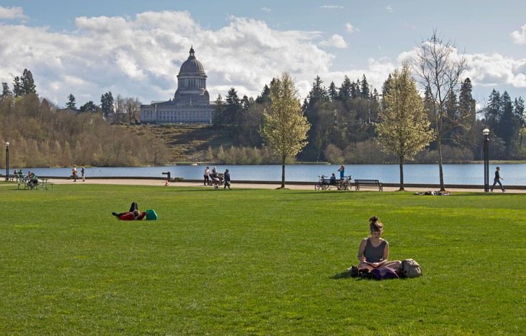 Capitol Lake in Olympia, Washington, with the Capitol Building in the background.