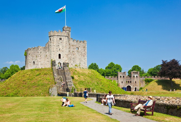 inside the grounds of Cardiff Castle with the Norman Keep Cardiff South Glamorgan Wales UK GB EU Europe