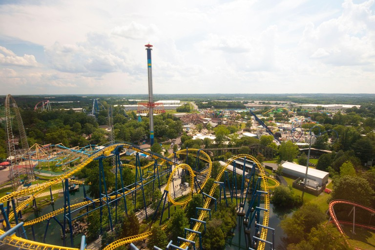 Carowinds, USA - August 19, 2019. Attraction nighthawk roller coaster in the theme park Carowinds on August 19, 2019 in Charlotte, North Carolina, USA